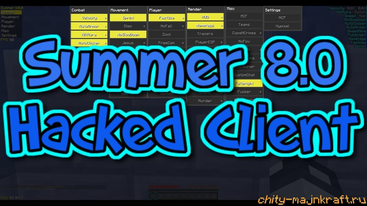 Чит клиент Summer на Майнкрафт 1.8