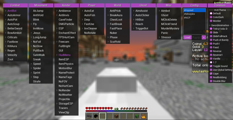 GUI меню в чите Flux